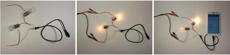 Подключение зарядки из лампочек к смартфону