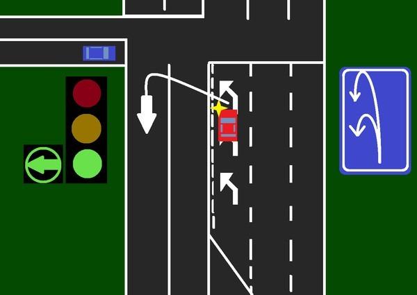 Разворот на светофоре со стрелкой