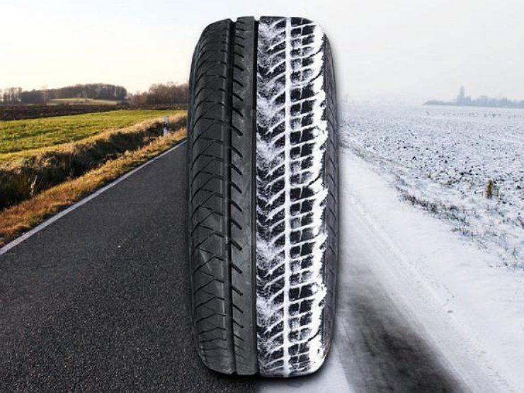 Колесо по снежней и летней дороге