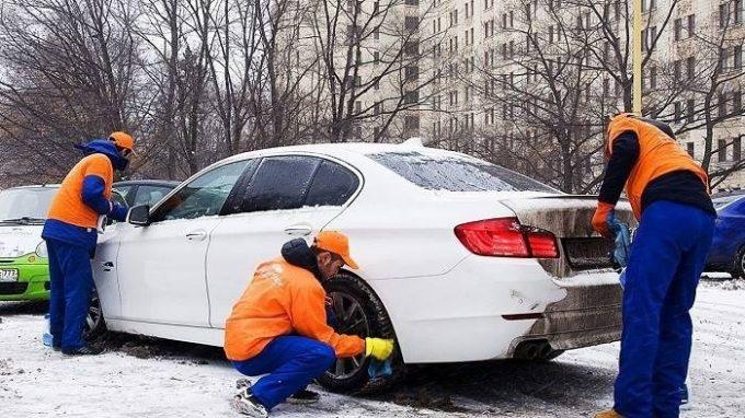 Сухая мойка авто зимой