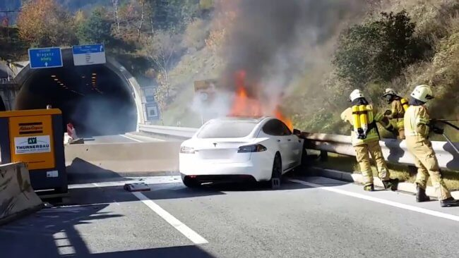 Возгорание электрокара