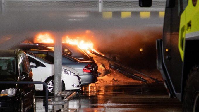 Сгоревший паркинг в Норвегии