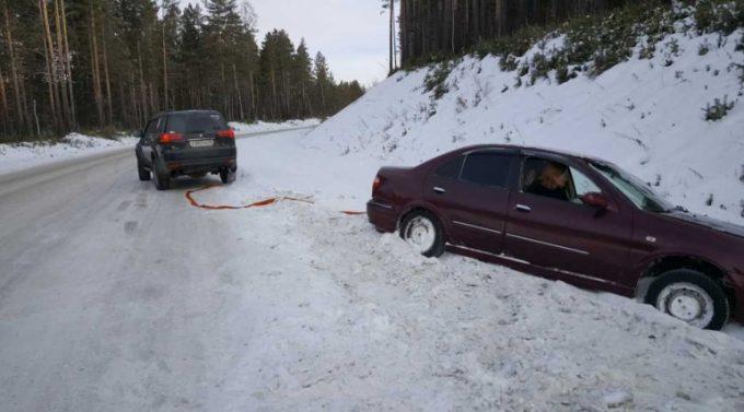 Буксировка авто зимой