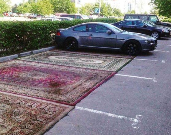 Ковры на парковке для машин