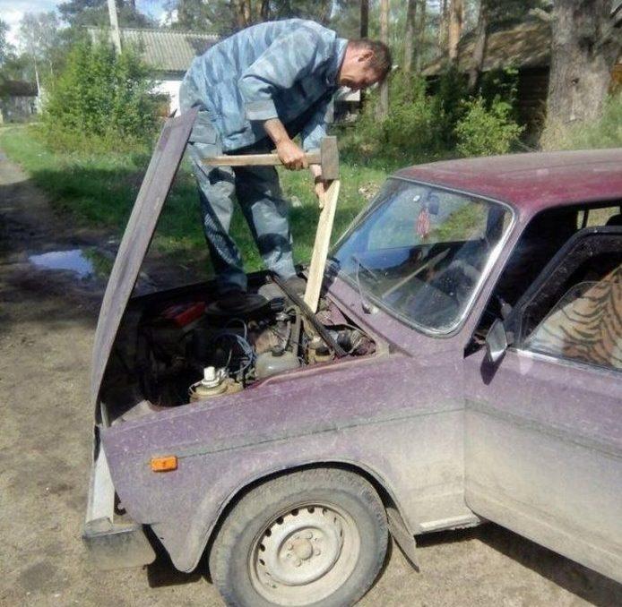 Необычный ремонт машины