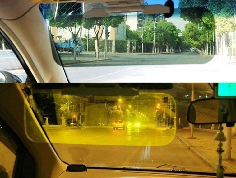 Козырек в машине днем и ночью