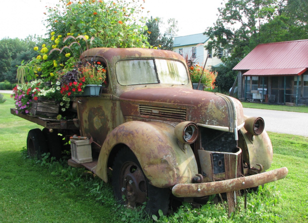 Садовая клумба в старом грузовике