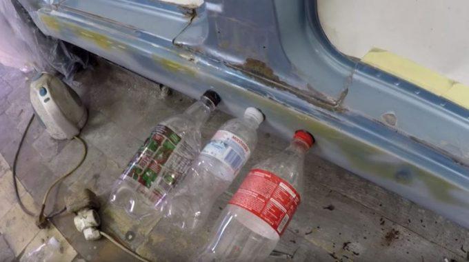 Выравнивание вмятин с помощью приклеенных бутылок