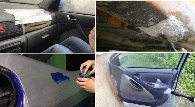 Ремонт скотчем и покраска машины