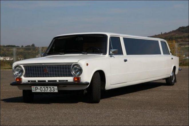 Белый самодельный лимузин