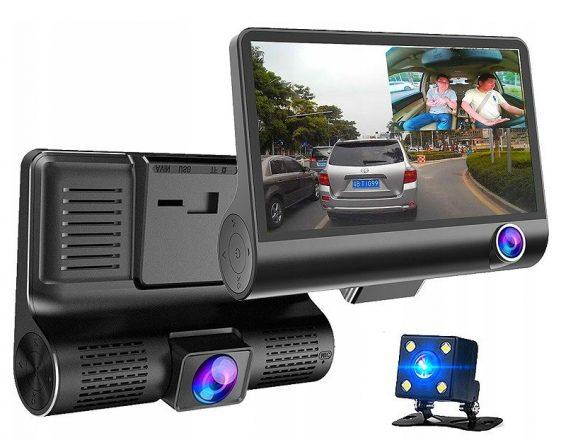 Видеорегистратор с тремя камерами.